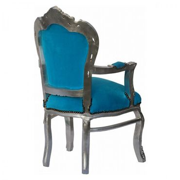 Noble chair in aqua blue fabric with silver-leafed wooden frame – image 5