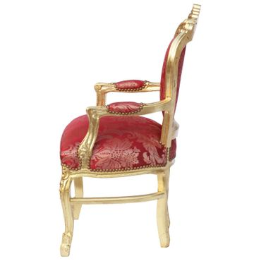 Baroque Style Dining Room Chair Armrest Gold wood Frame Two Tone Red Fabric – image 3