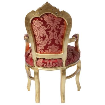 Baroque Style Dining Room Chair Armrest Gold wood Frame Two Tone Red Fabric – image 4