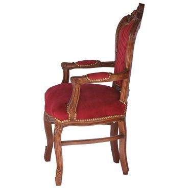 Noble chair in burgundy, wine red fabric with natural wood frame – image 3