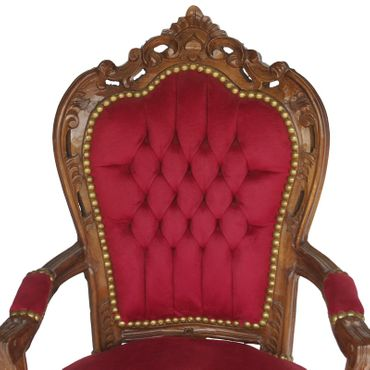 Noble chair in burgundy, wine red fabric with natural wood frame – image 5