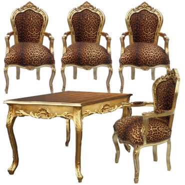 Beautiful Hand Crafted Golden Wood Table and 4 Baroque Style Armchair – image 1