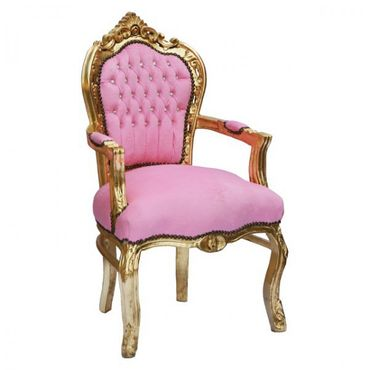 Noble chair in pastel pink fabric with Gold-leafed wooden frame – image 2