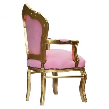 Noble chair in pastel pink fabric with Gold-leafed wooden frame – image 4