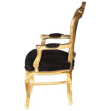 Noble chair in black fabric with gold-leafed wood – image 3
