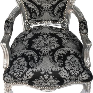 Armchair dining room black glitter fabric frame silver Antique Baroque – image 5