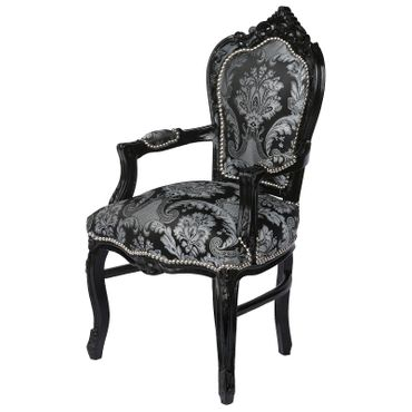 Baroque Armchair Dining Room Chair Black Wood Two Tone Black Grey Fabric – image 2