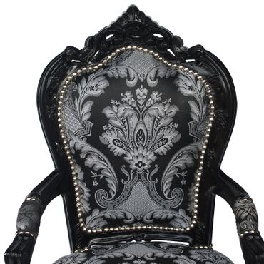 Baroque Armchair Dining Room Chair Black Wood Two Tone Black Grey Fabric – image 5
