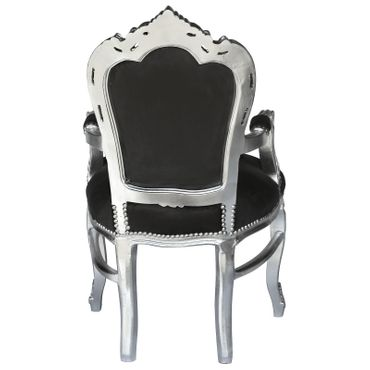 Noble chair in black fabric with silver-leafed wood – image 4