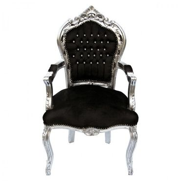 Noble chair in black fabric with silver-leafed wooden frame