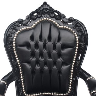 Elegant Black Baroque Dining Room Chair Leatherette Cushions Solid Wood Frame – image 5