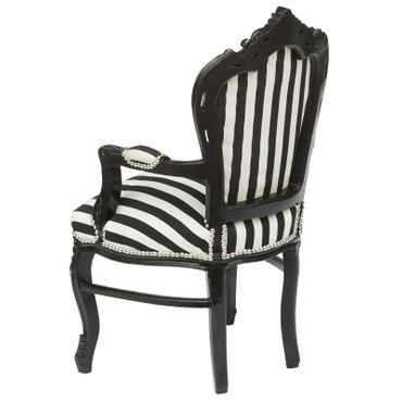Baroque Armchair Dining Room Chair Black White Stripy Cushioning Black Wood Frame – image 4