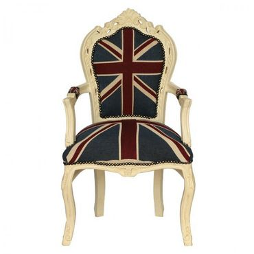 Dining chair in baroque style with Jack union flag – image 1