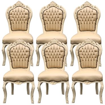 Beautiful set of 6 Chairs Baroque Style Dining Beige Leatherette Solid Wood – image 1