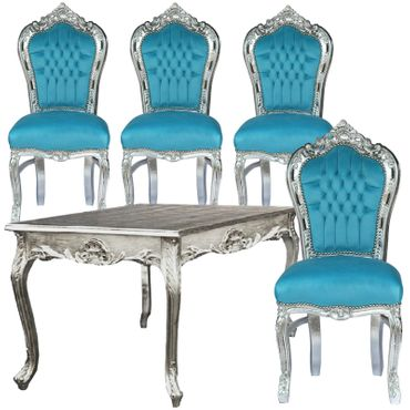 80x80 Baroque Style Silver Table and 4 Chairs with Bleu Velvet Cushions – image 1