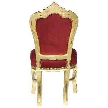 Accent Chair, gold-leafed solid wood burgundy velvet   – image 4