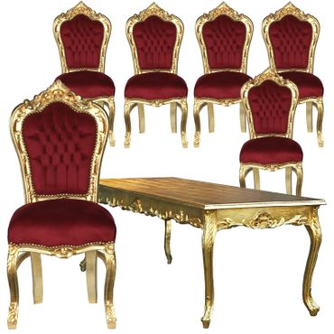 Beautiful Set of 6 Baroque Style Dining Room Chairs Red Velvet Gold Table – image 1