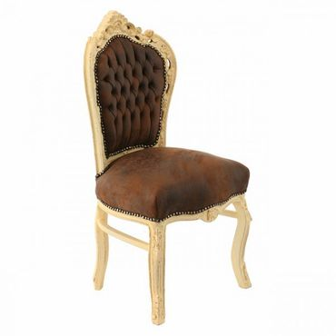 Baroque style Dining Room chair, Beige wood Frame with Brown Faux Suede cushions – image 2