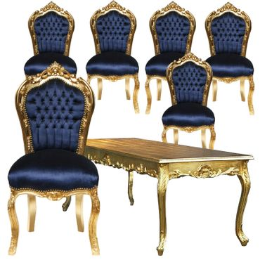 Beautiful Dark Blue Velvet Golden Hand Crafted Frame 6 Chairs + Table – image 1