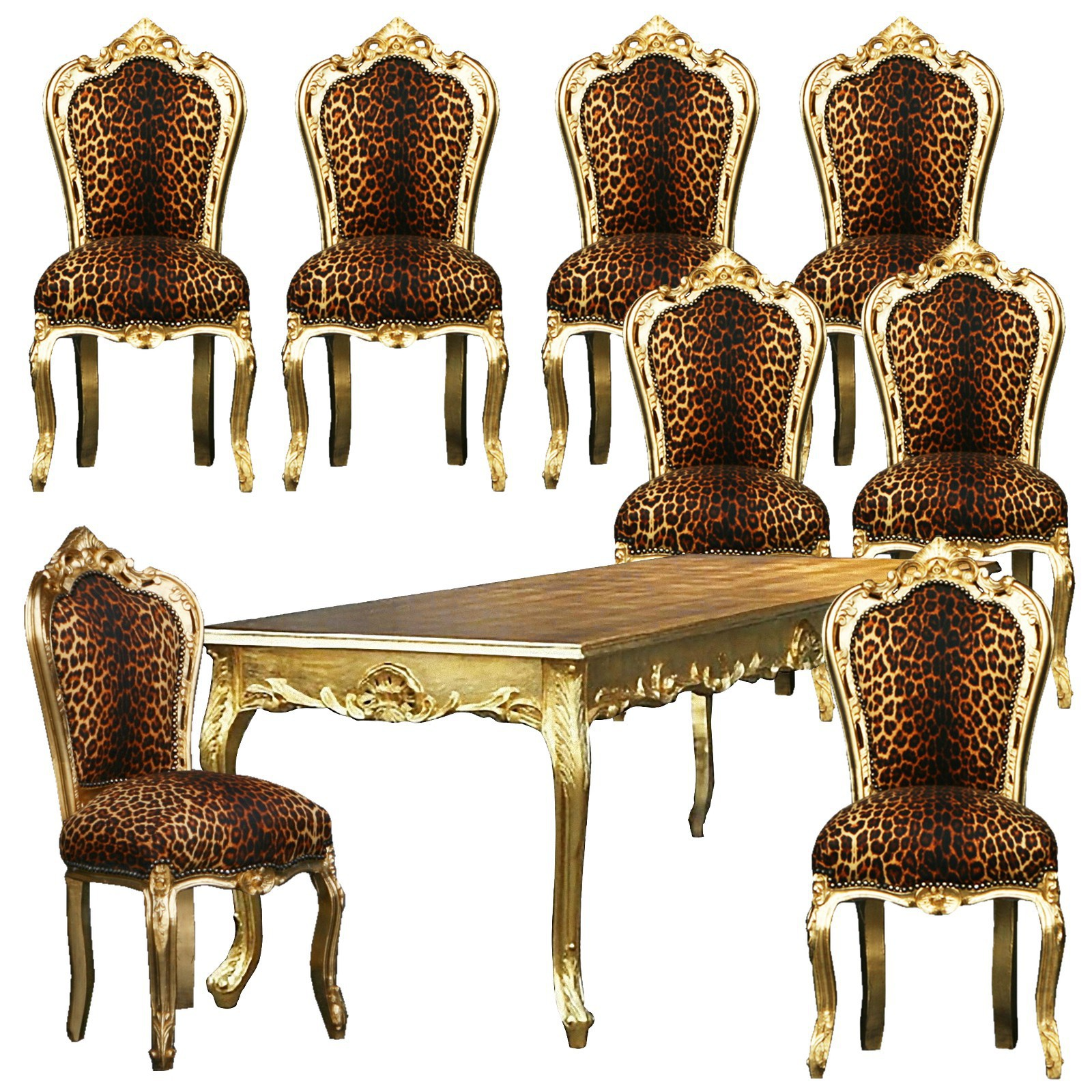 esszimmertisch und st hle leopard gold barock antik massivholz 8 polsterst hle. Black Bedroom Furniture Sets. Home Design Ideas