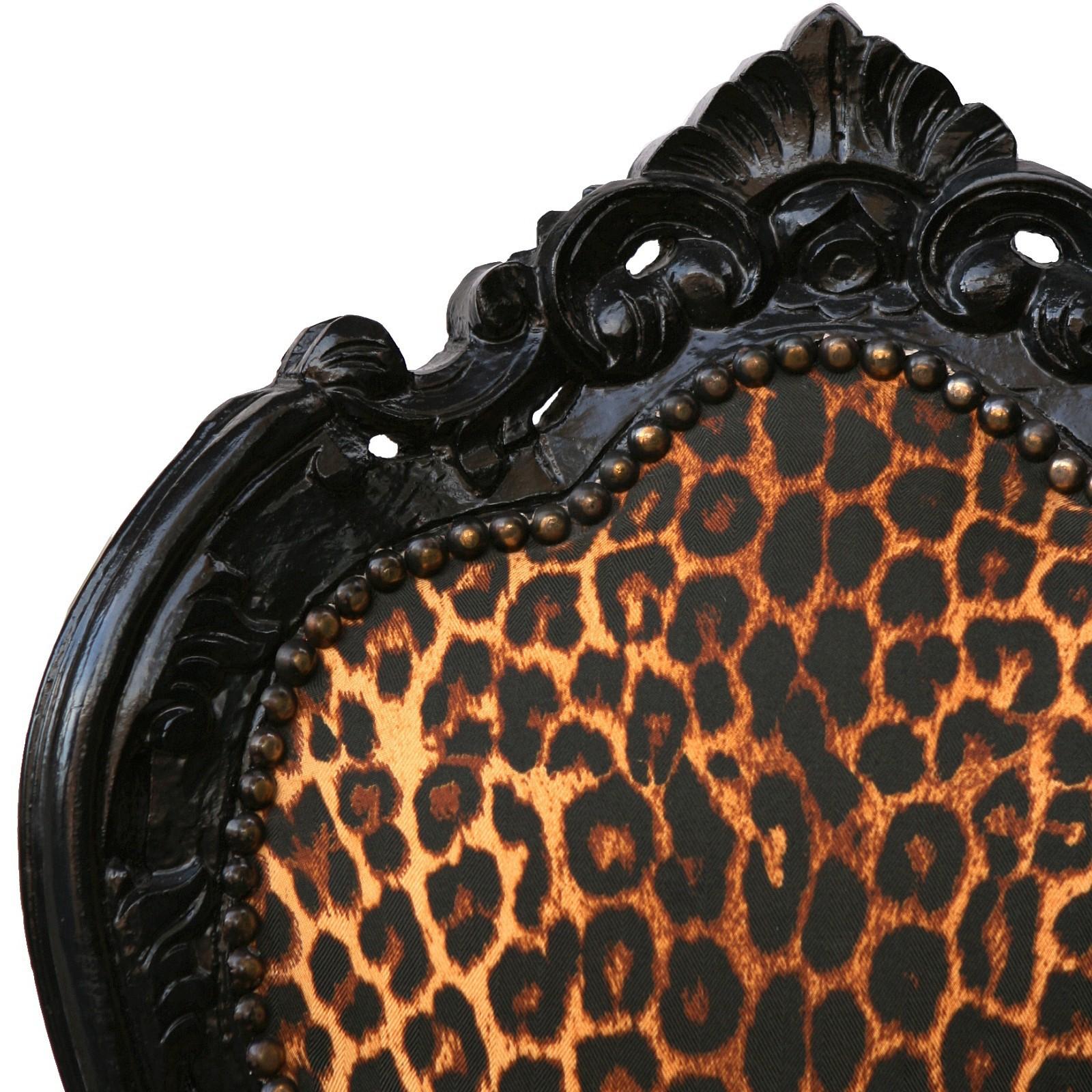 st hle schwarz leopard muster barock design 4er set st hle antike exotik. Black Bedroom Furniture Sets. Home Design Ideas
