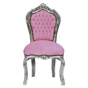 Baby Pink Rhinestone Incrusted Baroque Dining Room Chair Silver Solid Wood Frame – image 1