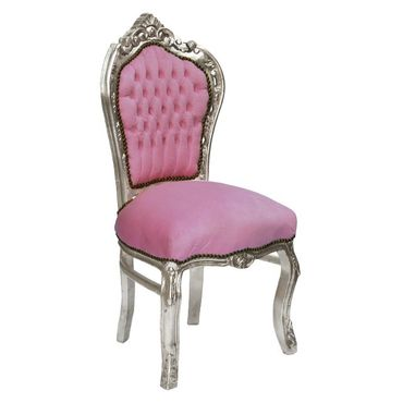 Baby Pink Rhinestone Incrusted Baroque Dining Room Chair Silver Solid Wood Frame – image 2