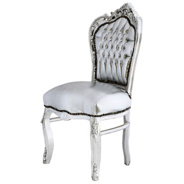 Amazing Set of 4 Chairs and Silver Table Baroque Design – image 2
