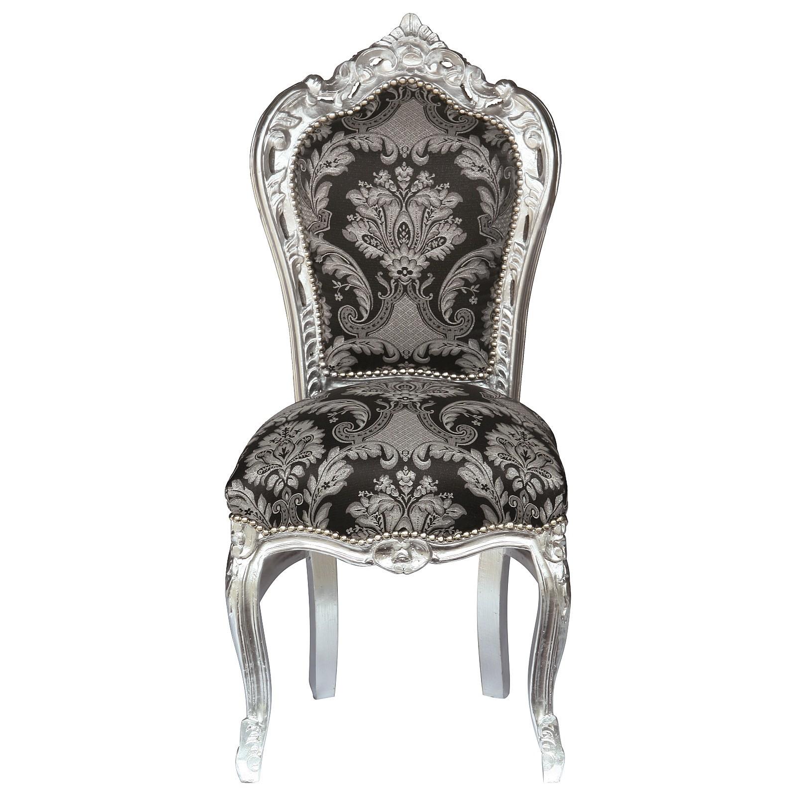 prunkvoller stuhl mit hochwertigem stoffbezug in schwarz. Black Bedroom Furniture Sets. Home Design Ideas