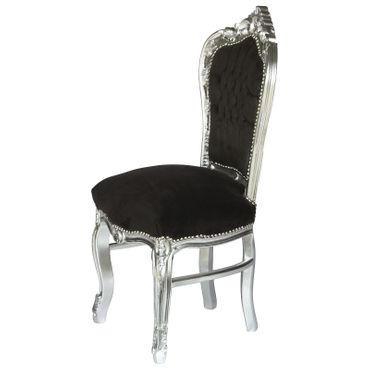 6 Chairs Black & Silver Baroque Table Dining Room Furniture Home Decor Elegance – image 3