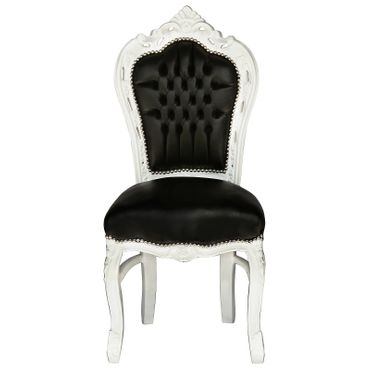 Set of 4 White Wood Black Leatherette Baroque Dining Room Chairs – image 6