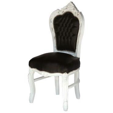 Set of 4 White Wood Black Leatherette Baroque Dining Room Chairs – image 2