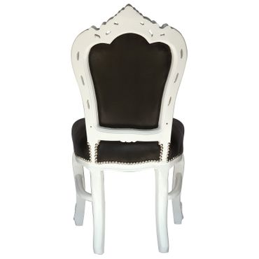 Set of 4 White Wood Black Leatherette Baroque Dining Room Chairs – image 4