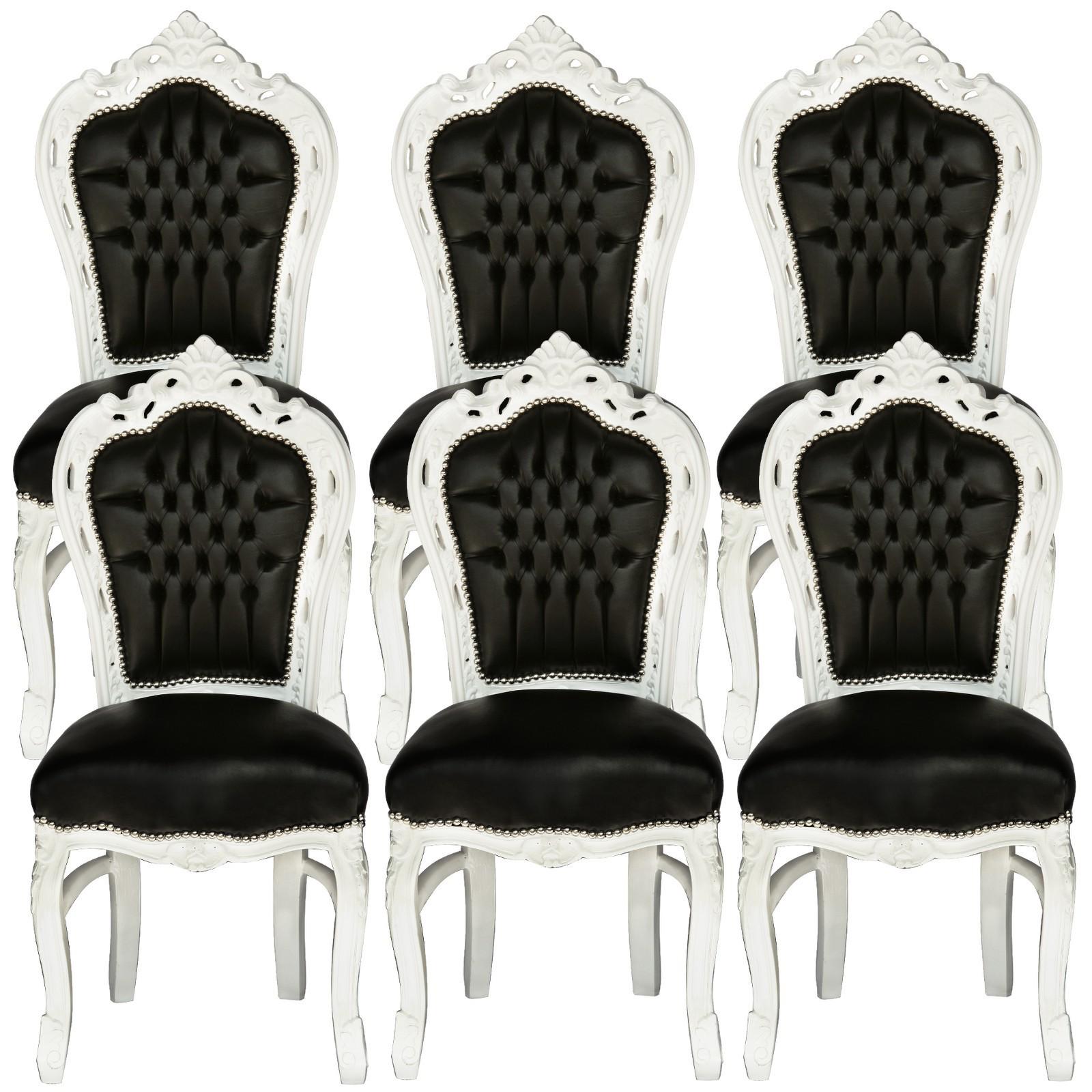 six pack barock esszimmerst hle 6er set vintage kunstleder schwarz rahmen wei. Black Bedroom Furniture Sets. Home Design Ideas