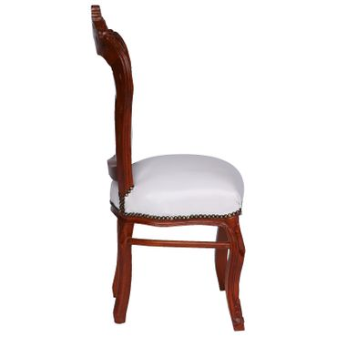 6 Chairs Brown Wood Hand Sculpted Solid Wood Frame White Leatherette Cushions – image 3