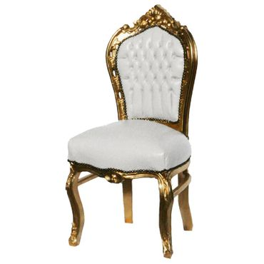 6 Chairs made of White Leatherette and Gold Wood Dining Room Furniture – image 4