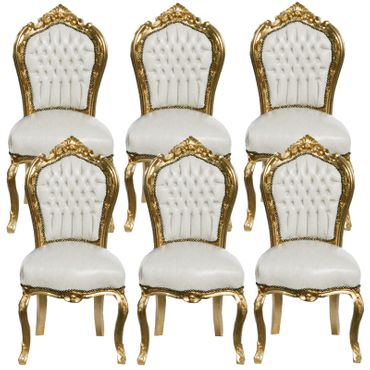 6 Chairs made of White Leatherette and Gold Wood Dining Room Furniture – image 1