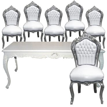 Baroque Design Dining Roo Set White Table + 6 Chairs White Leatherette Silver Wood – image 1