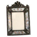 Silver picture frame baroque style antique look elegant design 001