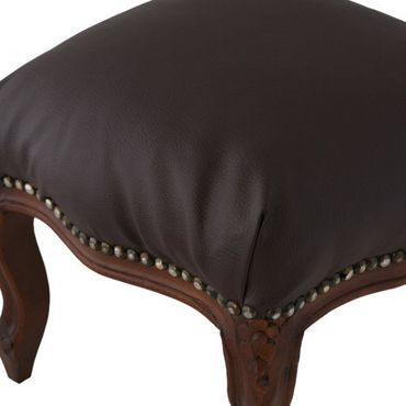 Brown Leatherette Footstool Brown Carved Wood Legs Living Room Baroque Style – image 5