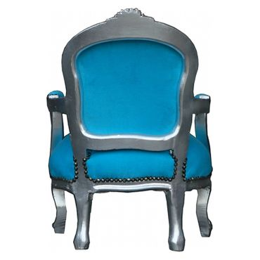 Bright Blue Armchair Child Size Silver Baroque Real Wood Frame – image 4