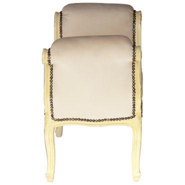 Classic Beige Velvet Bench Solid Beige Wood Frame Living Room Furniture – image 3