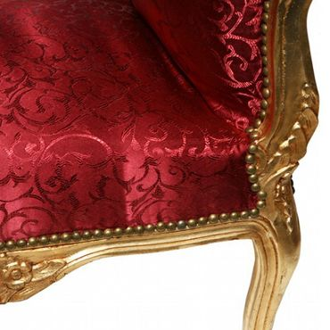 Dark red with intricate pattern solid wood bench seat in noble Baroque style – image 5