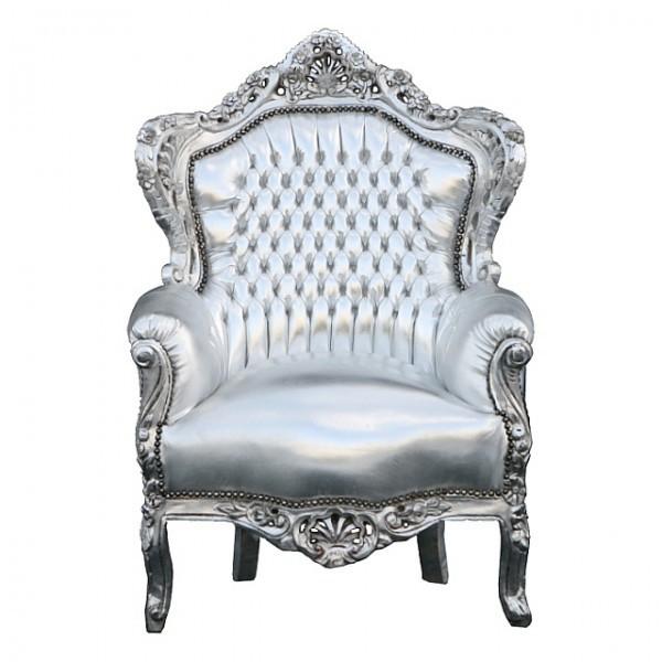 k nigsstuhl sessel barock silber kunstleder antik louis. Black Bedroom Furniture Sets. Home Design Ideas