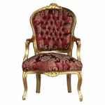 Living Room chair armrest gold wood frame red classic flower print fabric