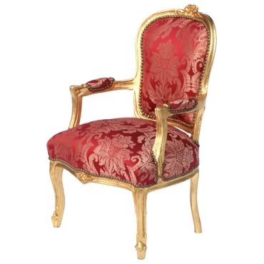 Vintage Armchair Red Flower Pattern Gold Wood Frame – image 3