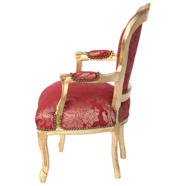 Vintage Armchair Red Flower Pattern Gold Wood Frame – image 2