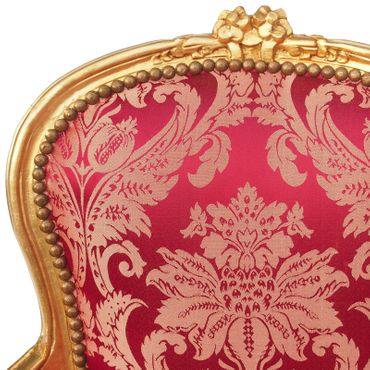 Vintage Armchair Red Flower Pattern Gold Wood Frame – image 5