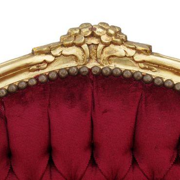 Lounge Polster Barockstuhl Barockhocker Set Angebot Stuhl & Fußhocker rot gold – Bild 3