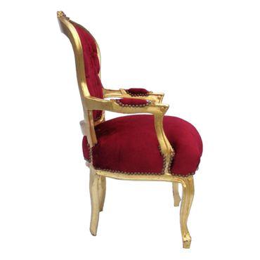 Loungegruppen Barock Prunk Designmöbel  4er Set Salon Stühle dunkelrot gold – Bild 3